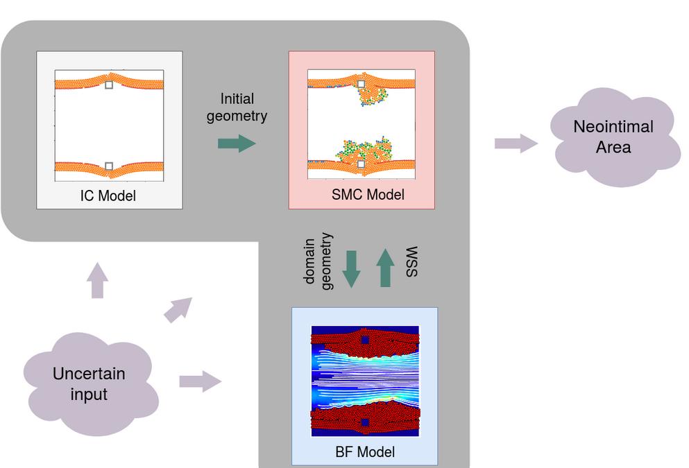 Non-intrusive and semi-intrusive uncertainty quantification of a multiscale in-stent restenosis model
